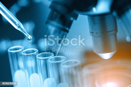 istock microscope with lab glassware 909908830