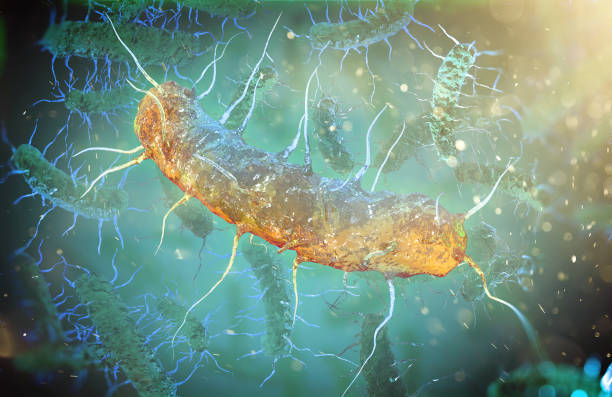 Microscopic bacteria on blue background, 3d illustration stock photo