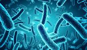 microscopic blue bacteria background