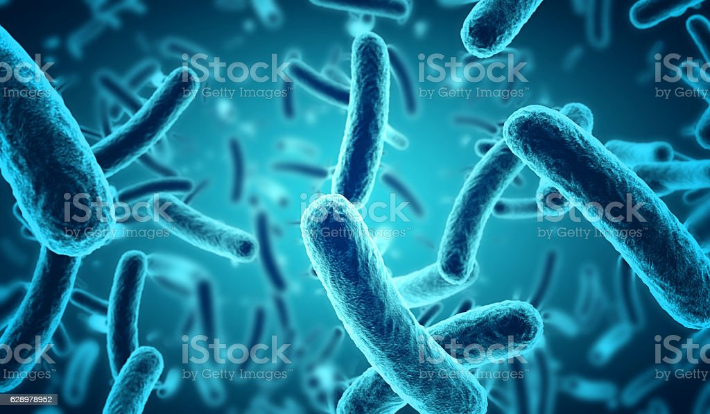 microscopic blue bacteria background - foto stock