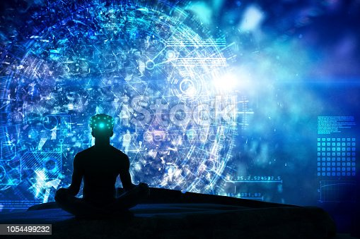 istock Microscopic greated idea with meditating by VR 1054499232