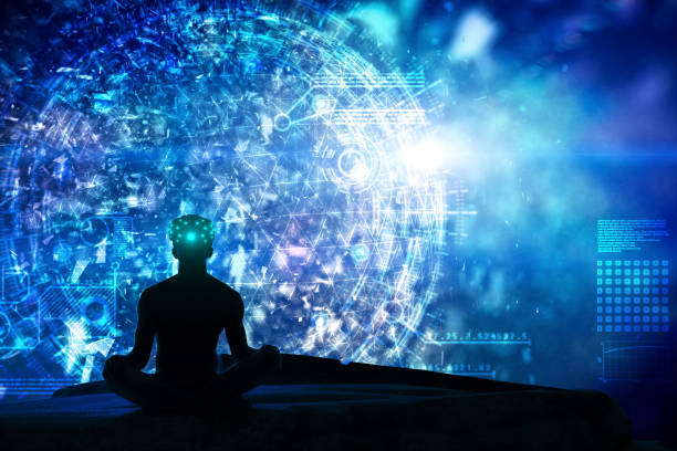 microscopic greated idea with meditating by vr - attitude stock photos and pictures