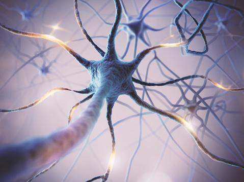 istock Microscopic of Neural network Brain cells. 1046016004