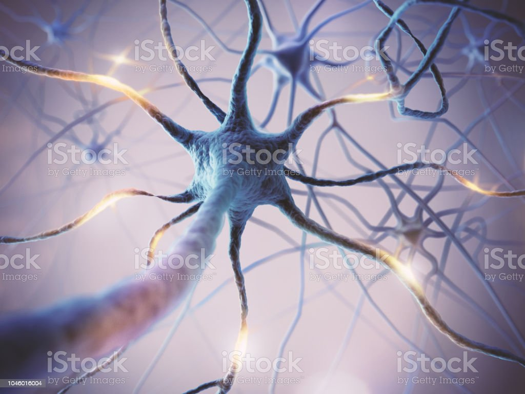 Microscopic of Neural network Brain cells. stock photo