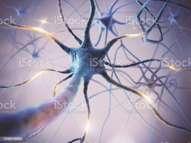 Microscopic Of Neural Network Brain Cells Stock Photo - Download Image Now