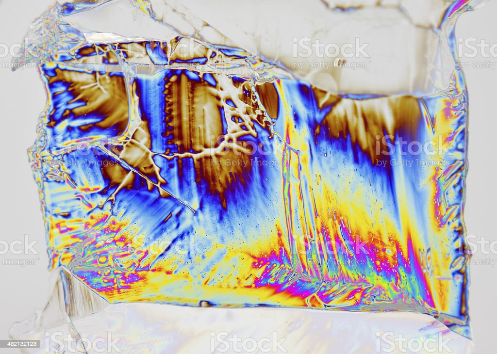 Microscopic view of magnesium sulfate heptahydrate crystal in polarized light stock photo