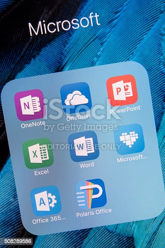 Antalya, Turkey - February 02, 2016 : A close up of an Apple iPhone 6S Plus screen showing  microsof apps, including OneNote,OneDrive, PowerPoint, Excel, Word, Microsoft Healing, Office 365 and Polaris Office. The iPhone 6S Plus is  designed by Apple Inc.