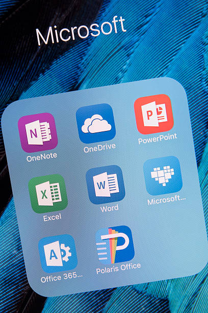 Microsoft  apps on Apple iPhone 6S Plus Screen Antalya, Turkey - February 02, 2016 : A close up of an Apple iPhone 6S Plus screen showing  microsof apps, including OneNote,OneDrive, PowerPoint, Excel, Word, Microsoft Healing, Office 365 and Polaris Office. The iPhone 6S Plus is  designed by Apple Inc. single word stock pictures, royalty-free photos & images