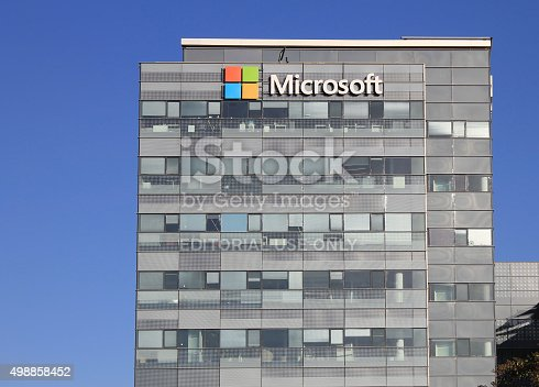 istock Microsoft corporation office building facade with logo in Herzli 498858452