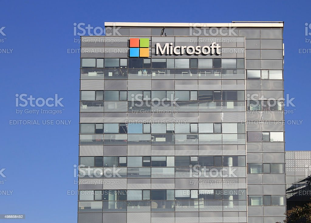 Microsoft corporation office building facade with logo in Herzli stock photo