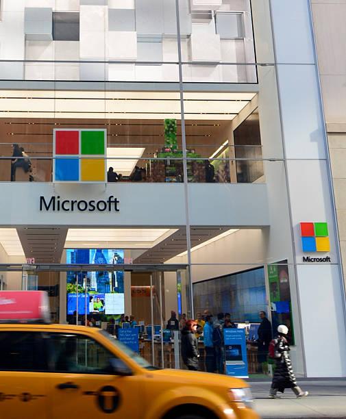 microsoft flagship-store in neu york stadt - microsoft windows stock-fotos und bilder