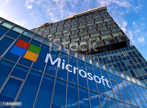 Bucharest, Romania - November 27, 2019: View of Microsoft Romania headquarters in City Gate Towers situated in Free Press Square, in Bucharest, Romania.