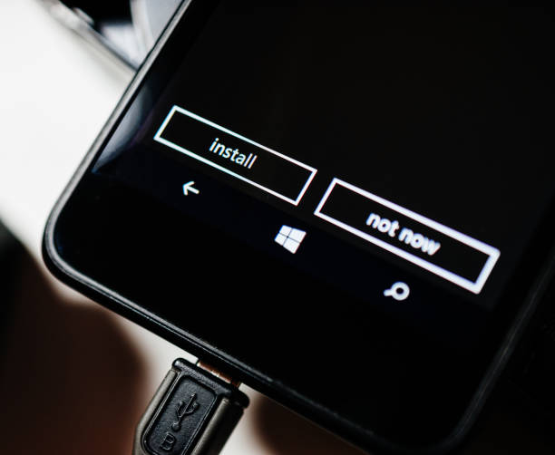 microsoft nokia lumia smartphone telefon tilt-shift, - microsoft windows stock-fotos und bilder