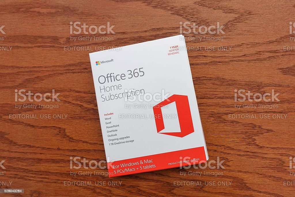 Microsoft Office 365 subscription software package stock photo