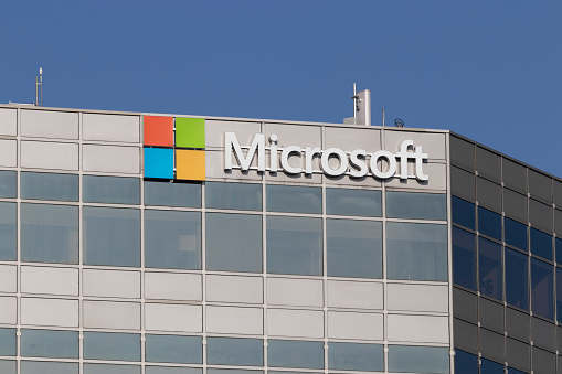 Blue Ash - Circa November 2020: Microsoft Sales office. Microsoft plans for a future beyond the XBOX, Surface and cloud computing.