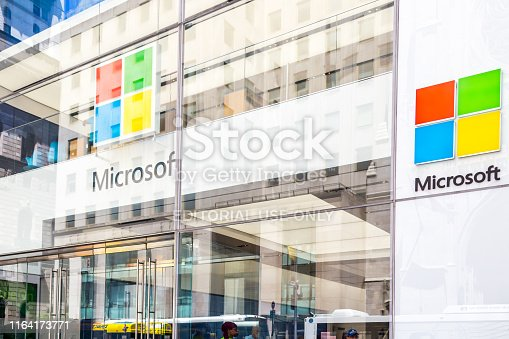 New York, USA - May 15, 2019: Microsoft store in Manhattan. Microsoft is world's largest software maker dominant in PC operating systems, office apps and web browser market.