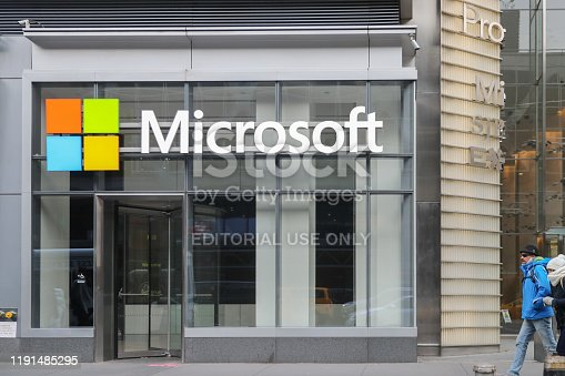 New York November 28 2019: Microsoft store in midtown Manhattan. Microsoft is one of the world's largest software, hardware and video gaming companies. - Image