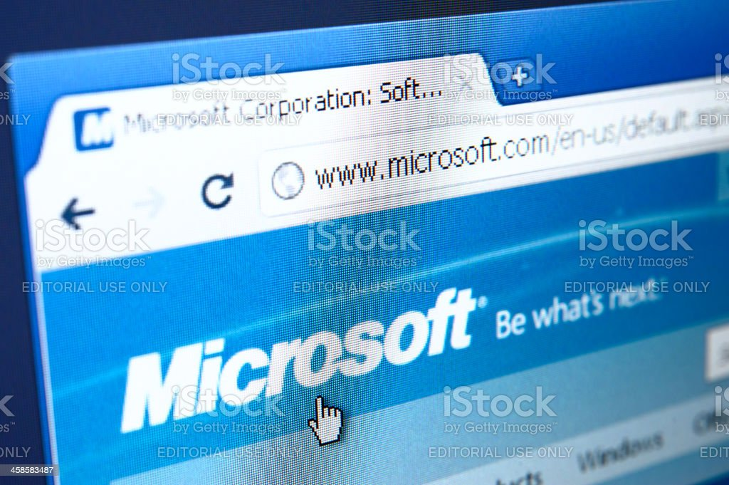 Microsoft webpage on the browser royalty-free stock photo