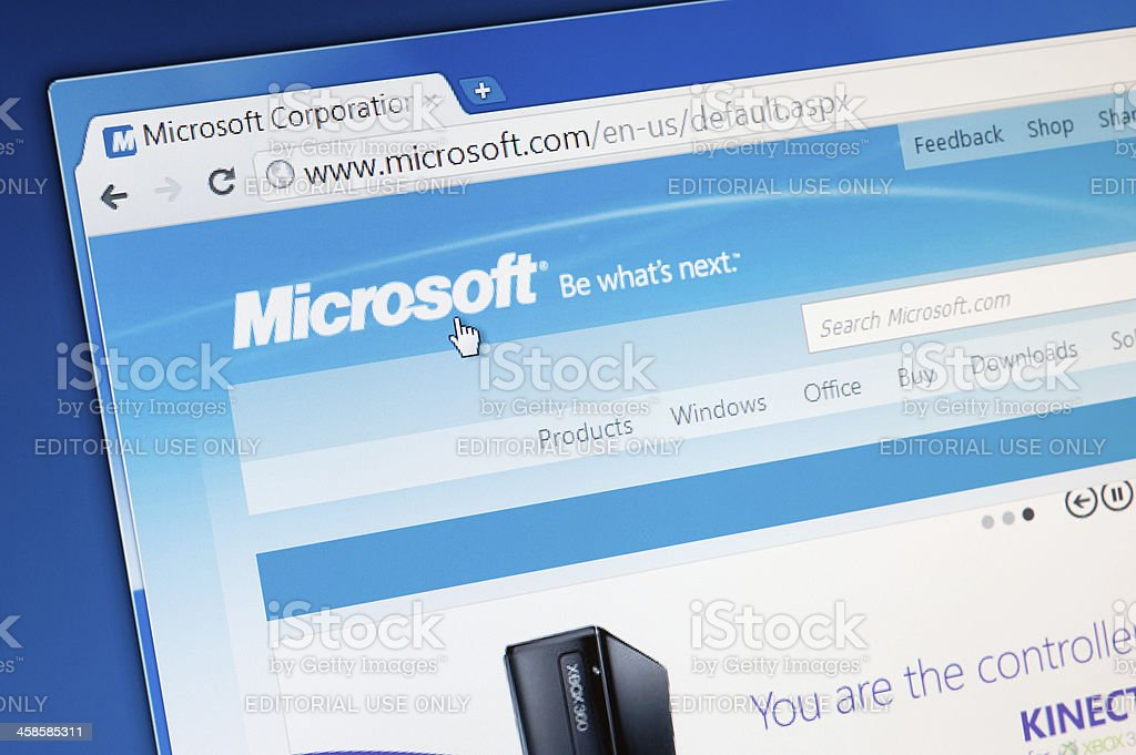 Microsoft website homepage. royalty-free stock photo