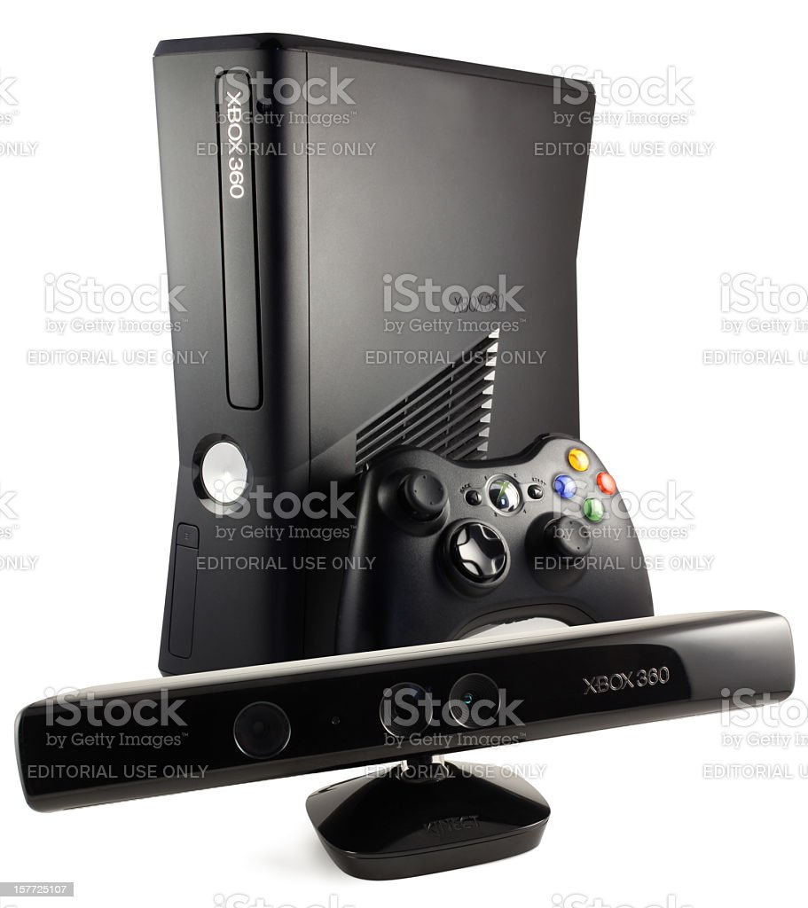 Microsoft Xbox 360 Game Console With Kinect stock photo
