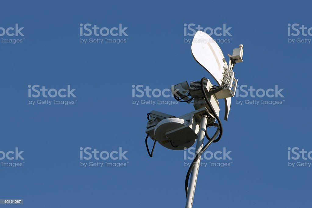 The microwave dish antenna on top of the remote news van mast.