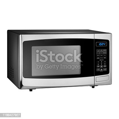 Microwave Oven Isolated on White Background. Side View of Stainless Steel Countertop 0.9 Cu. Ft. Compact Microwave Oven. Major Kitchen and Domestic Appliances