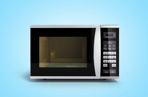 Microwave stove on blue gradient background 3d render stock photo