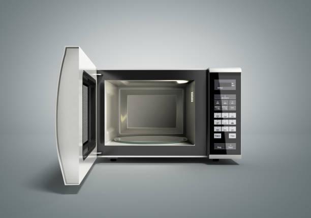 Microwave stove open on grey 3d illustration stock photo