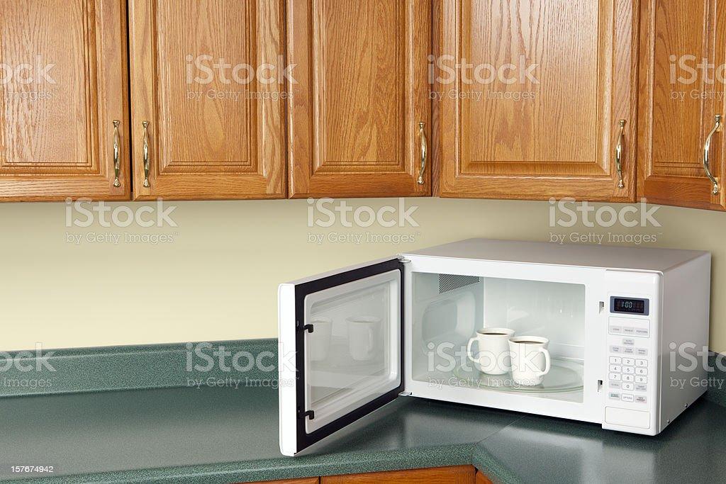 Microwave with Coffee stock photo