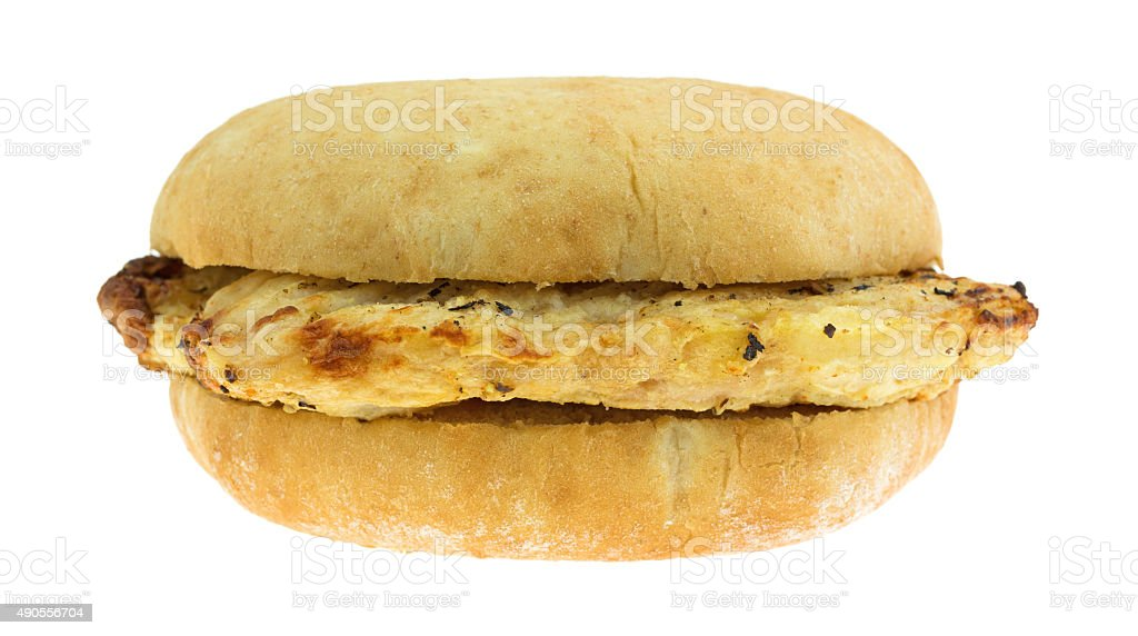 Microwaved grilled chicken breast sandwich stock photo