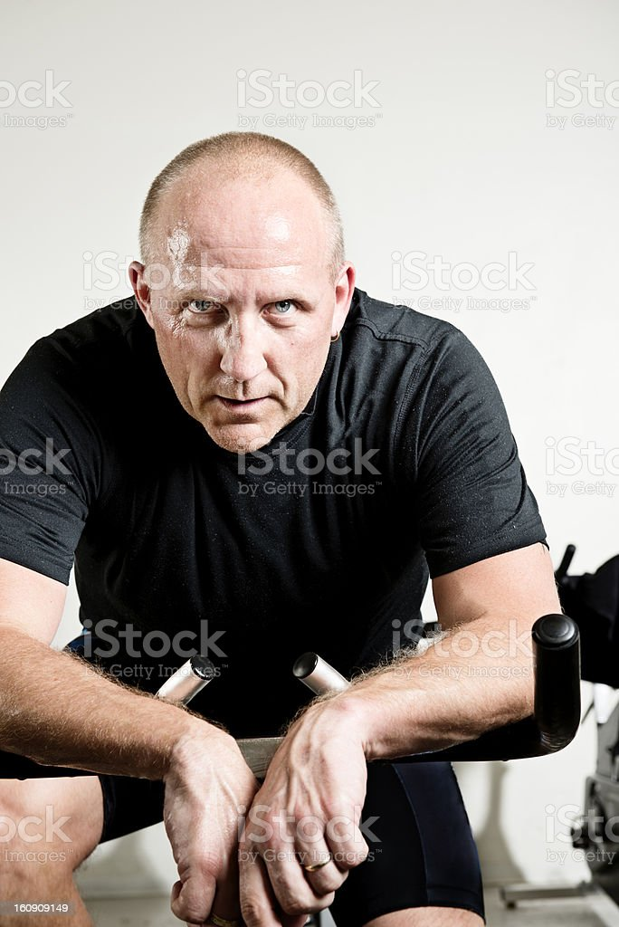 Mid 40's Male Relaxing After Gym Workout stock photo