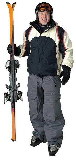 Mid 40's skier on white stock photo