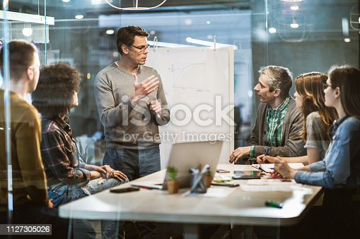Mid adult manager talking while having presentation with his team in the office. The view is through glass.