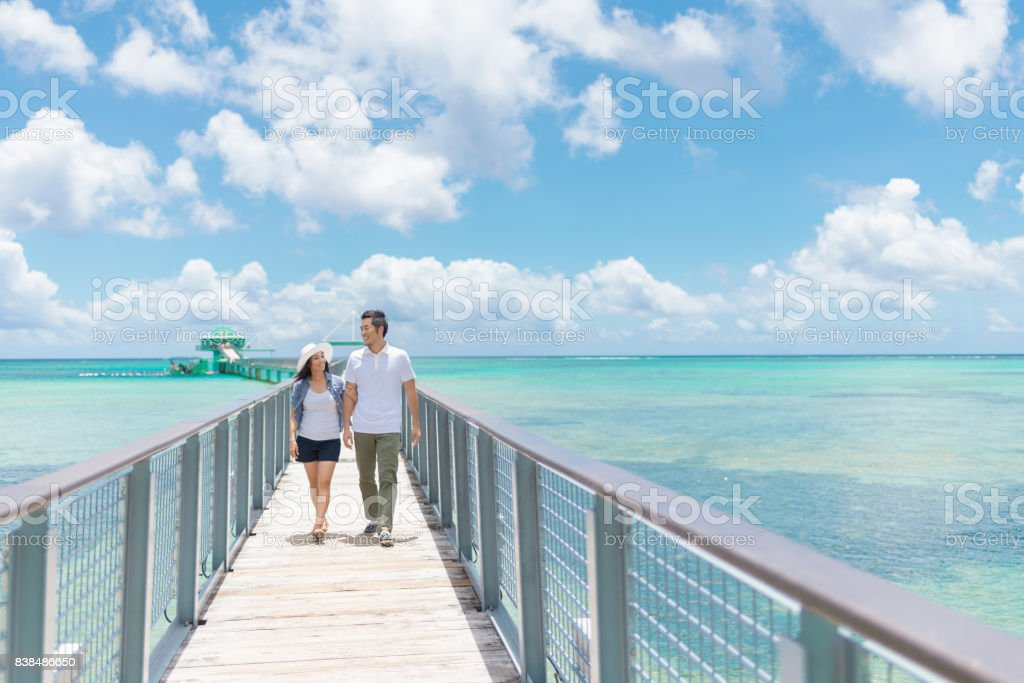Mid adult couple enjoying sea view stock photo