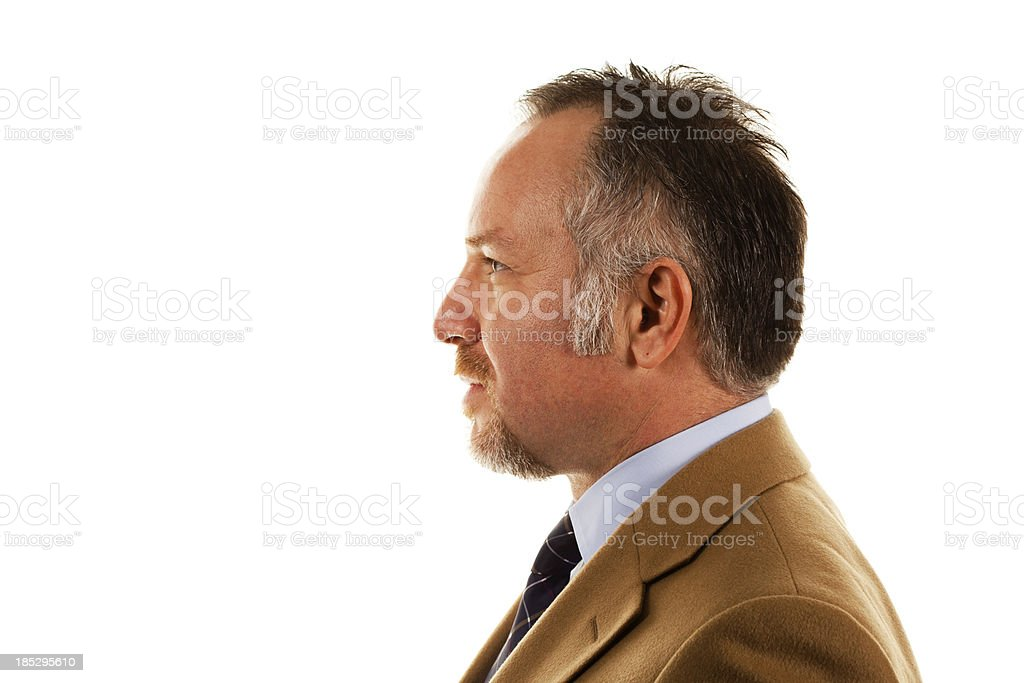 Mid adult man on white background stock photo