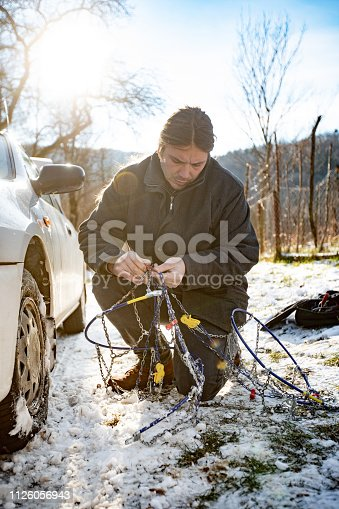 Mid Adult Man Preparing To Position Tire Chains on Car TIre.