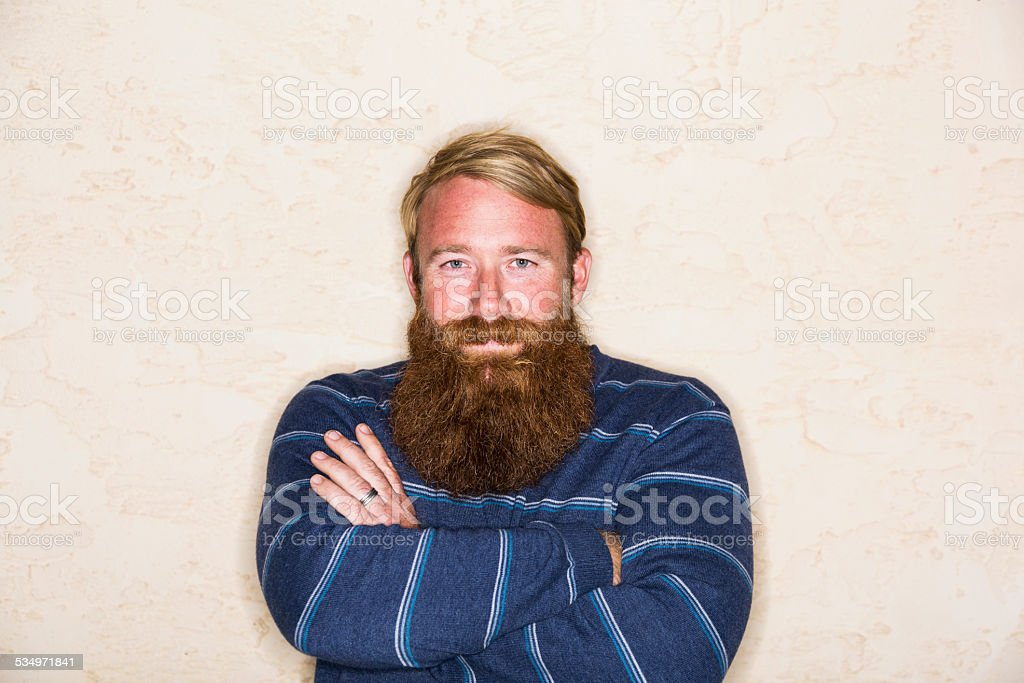 Mid adult man with a long beard stock photo