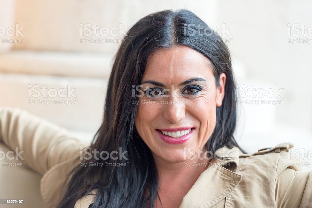 Mid adult smiling woman stock photo