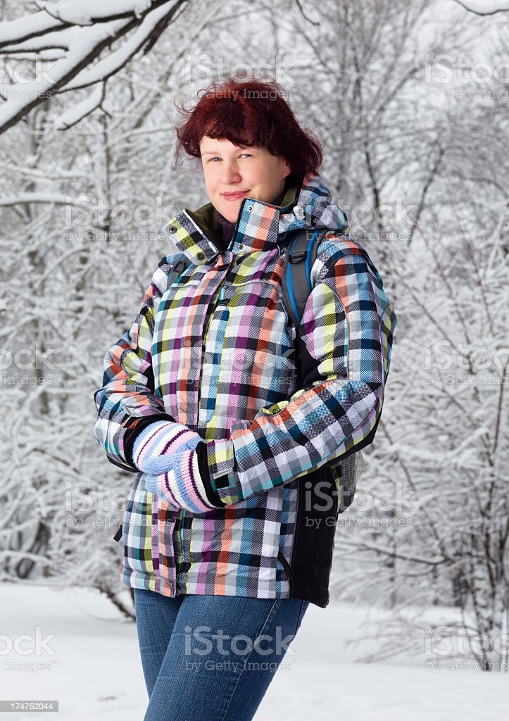 Mid adult winter woman portrait royalty-free stock photo