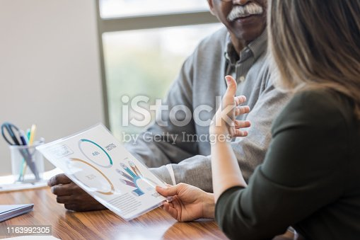 The mid adult woman sits and discusses the graphs that represent profits for the business with its owner.