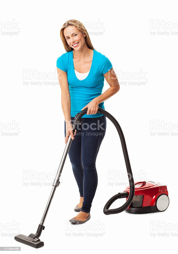 Mid Adult Woman Vacuum Cleaning - Isolated stock photo