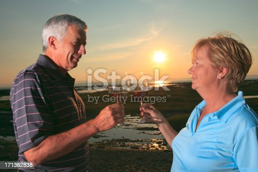 Mid Age Couple Sunset - Wine Sun