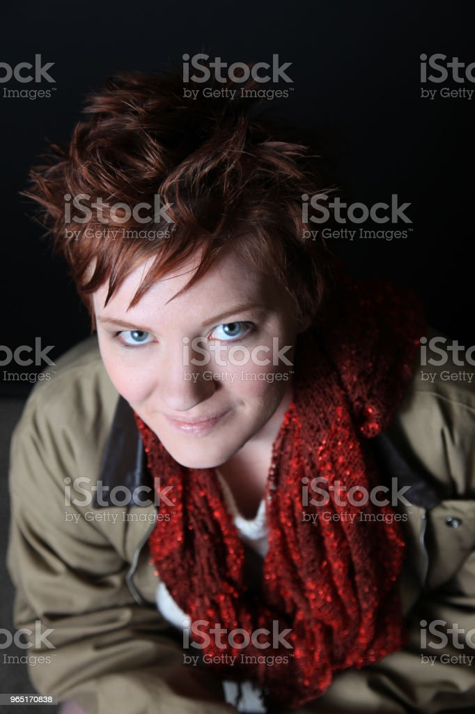 mid age woman in autumn clothing royalty-free stock photo