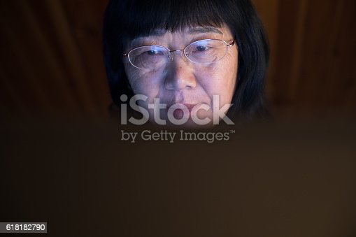 1074745976 istock photo Mid age woman working at home on laptop close-up 618182790