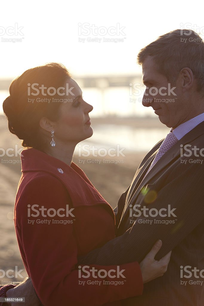 Mid aged couple in love stock photo