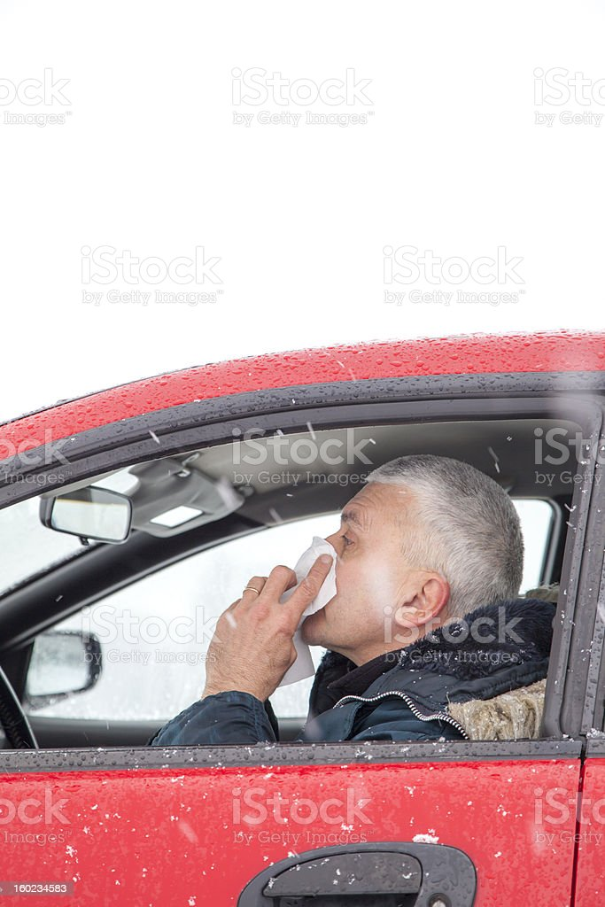 Mid aged man sneezes in a car royalty-free stock photo
