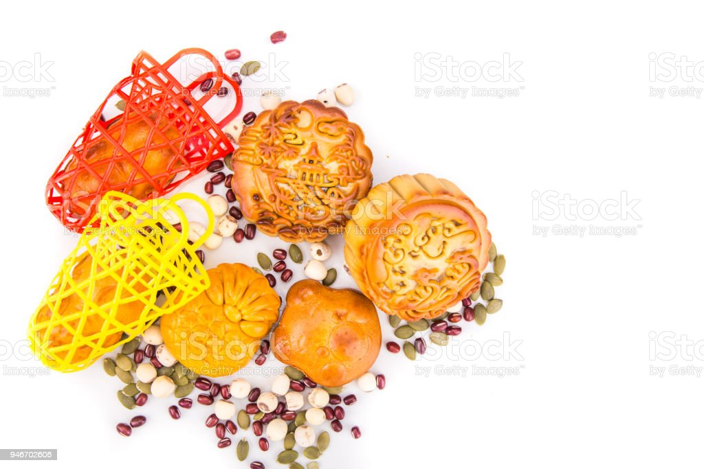 Mid Autumn festival Chinese mooncake  with ingredients on white background stock photo