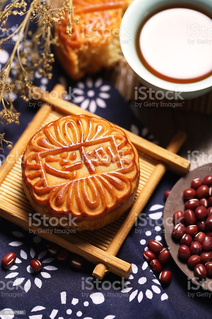 Mid autumn moon cake stock photo