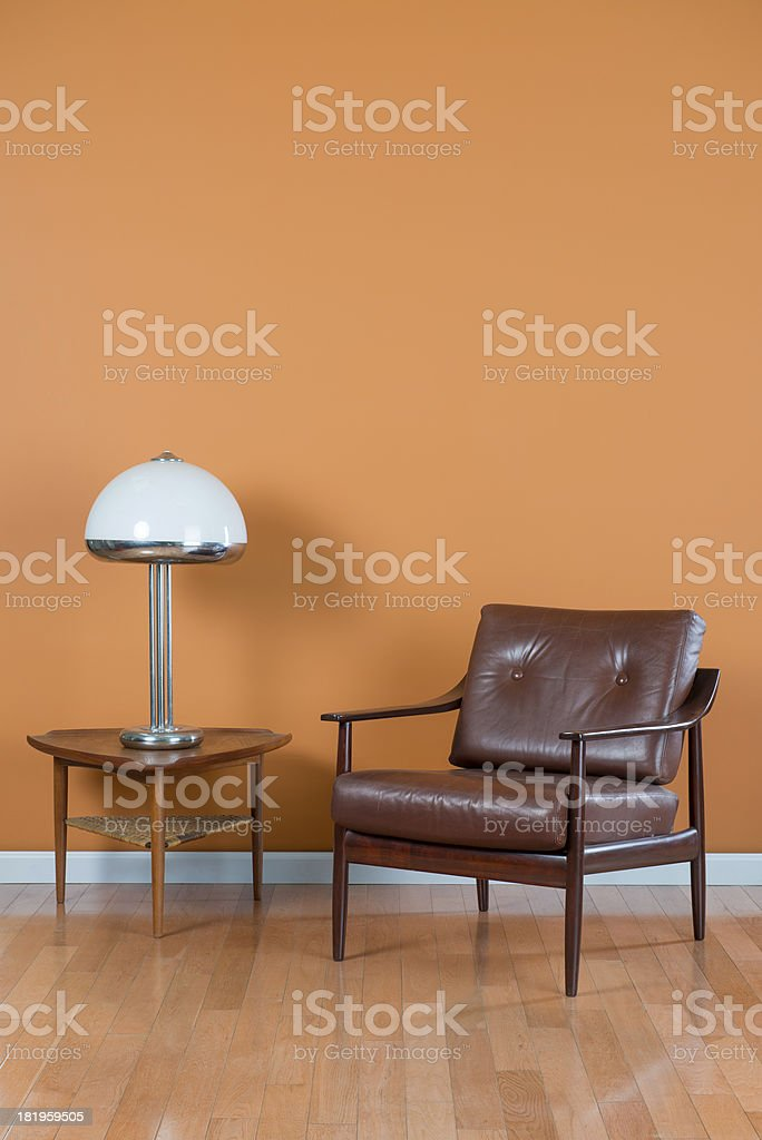 Mid Century Armchair and Coffee Table stock photo