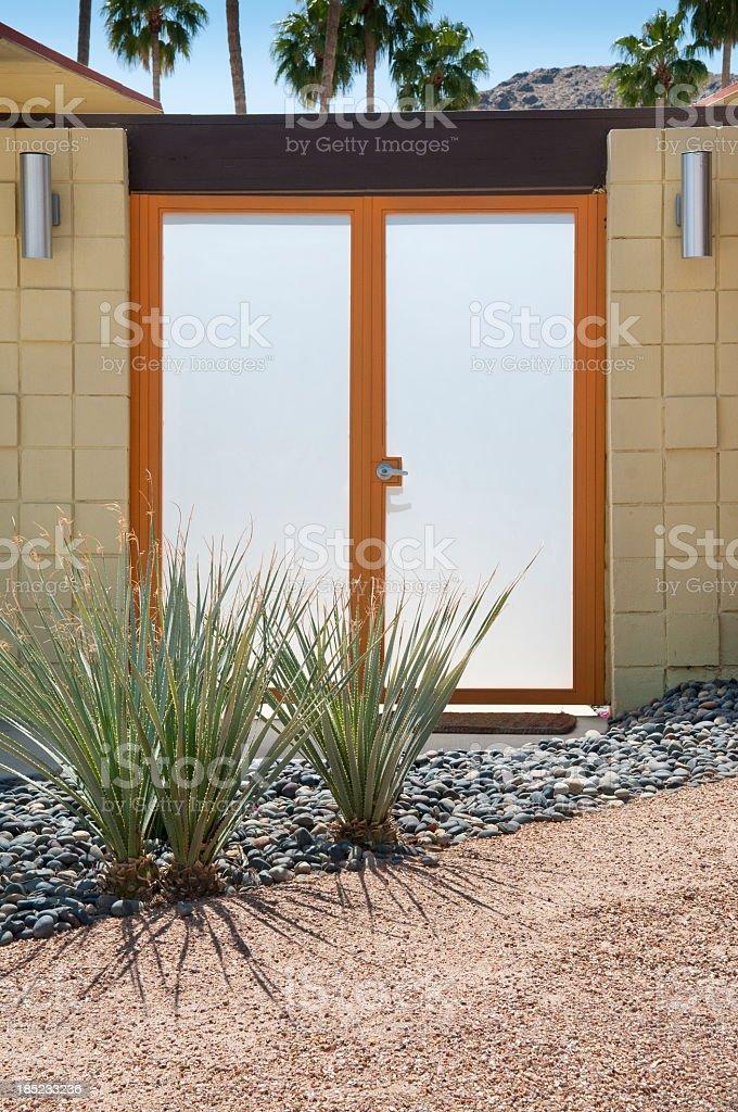 Mid Century Modern Glass Front Door stock photo